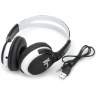 YS-CC16 USB Rechargeable Stereo Headphone MP3 Player with FM/TF - Black + White