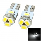 T5 0.5W 50lm 6500K 5-3528 SMD LED White Light Car Instrument lamp - Silver + Yellow (2 PCS)