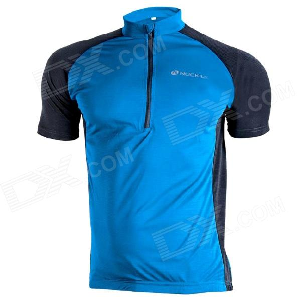 NUCKILY NJ601 Bike Bicycle Cycling Breathable Short Sleeve Suit Jersey - Blue (Size L) nuckily nj601 mountain road bicycle cycling short sleeves jersey red black size m