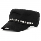 Polyester Cotton Sunshade Flat-top Cap for Summer - Black + Silver