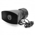 80W Waterproof Motorcycle Car Five Sounds Horn Alarming Loudspeaker - Black (DC 12V)