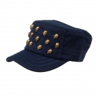 Unisex Outdoor Leisure Skull Shape Rivet Hat Cap - Dark Blue + Golden