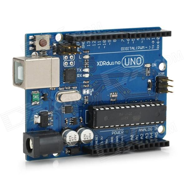 UNO R3 Development Board Microcontroller MEGA328P ATMEGA16U2 Compat for Arduino - Blue + Black