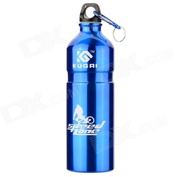 KUGAI Aluminum Alloy Water Bottle w/ Carabiner - Blue (750ml) ryder anodizing aluminum alloy screw lock carabiner blue 7mm