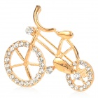Creative Rhinestone Bicycle Style Zinc Alloy Brooch Pin - Golden