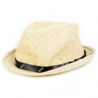 Fashion Women's Straw Braid Hat - Khaki + Black