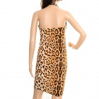 Sexy Leopard Print Pattern Backless Polyester Dress - Black + Brown