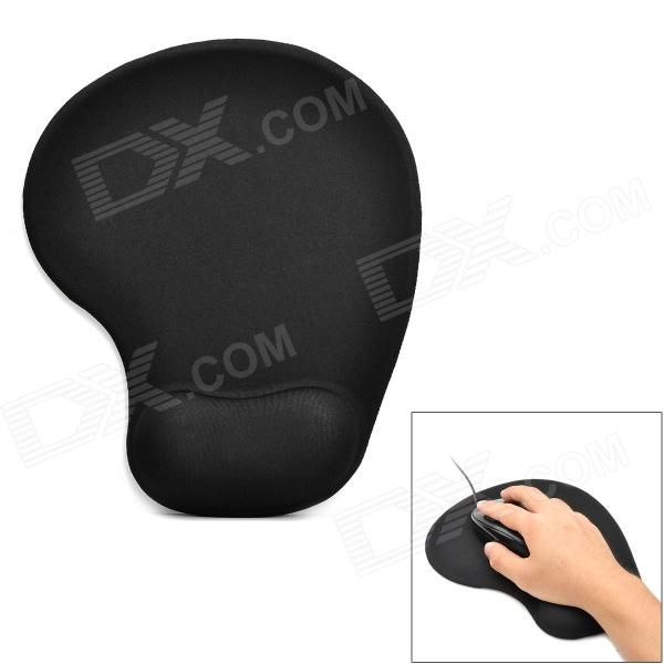 Ergonomically Memory Foam + Elastic Cotton Mouse Pad w/ Wrist Rest Support - Black