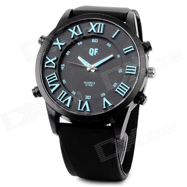QF Men's Stylish Big Dial  Analogue Quartz Wrist Watch w/ Silicone Band - Black + Blue (1 x AG3) men s silicone band big square dial quartz wrist watch black golden 1 x 377