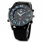 QF Men's Stylish Big Dial  Analogue Quartz Wrist Watch w/ Silicone Band - Black + Blue (1 x AG3)