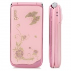 "Z222 GSM Flip Phone w/ 2.2"" LCD, Dual-band, Dual-SIM and FM - Pink + Golden"