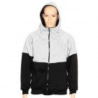 Men's Causal Zipper Cotton Warmer Coat - Black + Grey (Size XXL)