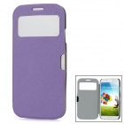 Protective Leather + Plastic Flip-open Case for Samsung i9500 - Purple + Black