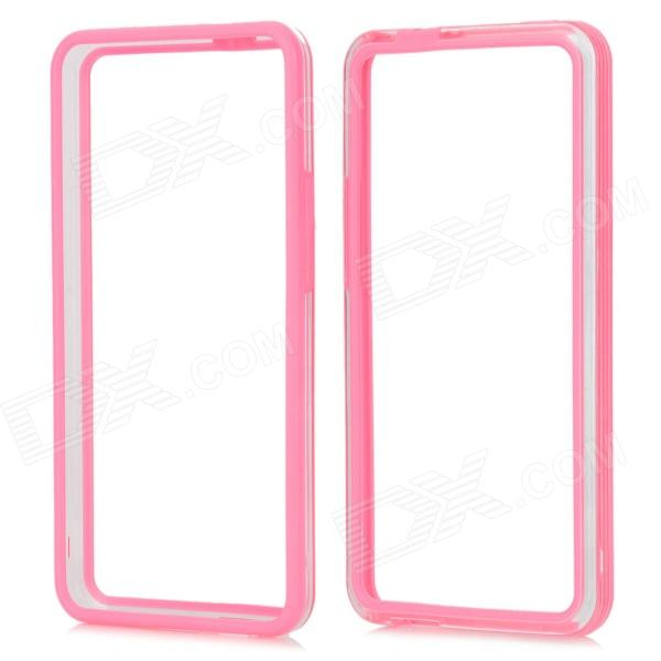 Protective Plastic Bumper Frame for HTC One M7 - Pink + Transparent