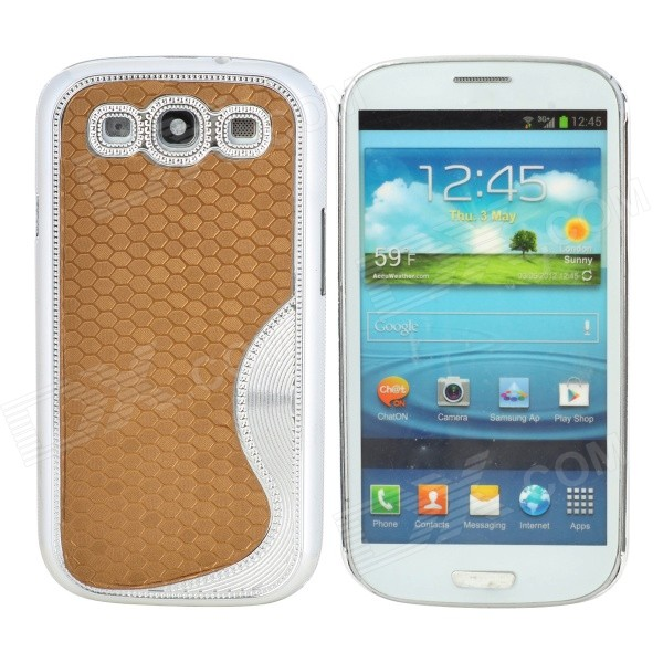 S Style Elegant Protective Plastic Plating Back Case for Samsung Galaxy S3 i9300 - Golden + Silver cm001 3d skeleton pattern protective plastic back case for samsung galaxy s4