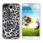 Protective Feather Grain Style PC Back Case for Samsung Galaxy S4 i9500 - Black + White + Silver