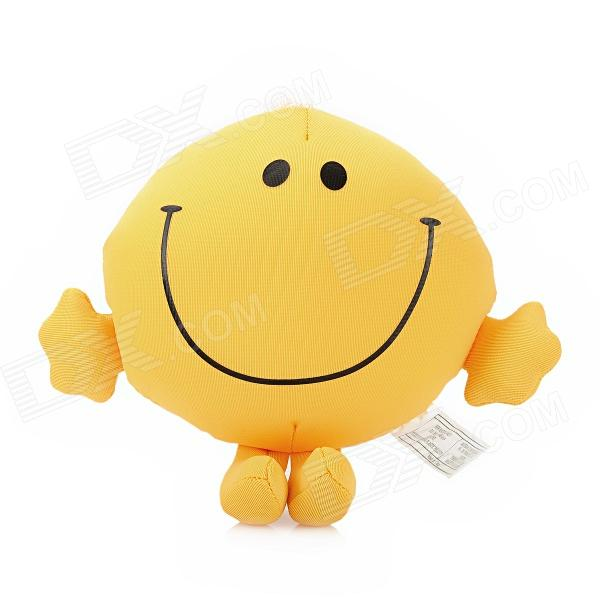 4.5 Smiling Face Style Foam Particles Doll Toy w/ Suction Cup - Yellow 4 5 smiling face style foam particles doll toy w suction cup yellow