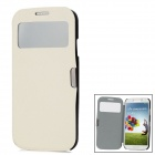 Protective Leather + Plastic Flip-open Case for Samsung i9500 - White + Black