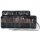 Professional 24-in-1 Cosmetic Makeup Wolf Wool Brush Set w/ PU Leather Case - Black