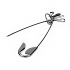 Zinc Alloy Safety Pin Keychain w 4-Hook