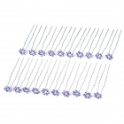 Elegant Lady Updo Shiny Rhinestone Flower Decoration Hairpins - Purple + Silver (20 PCS)