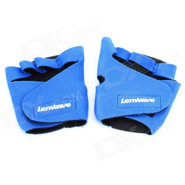 Lenwave 5201 Outdoor Sports Palm Protection Spun Polyester + Rubber Support Gloves - Blue