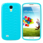 """W"" Grain Style Protective PVC Back Case for Samsung Galaxy S4 i9500 - Blue"