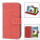 Tree Bark Pattern Protective Leather + Plastic Flip-open Case for Samsung i9500 - Red + Black