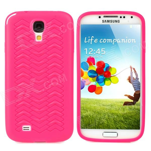 """""""W"""" Grain Style Protective PVC Back Case for Samsung Galaxy S4 i9500 - Deep Pink"""