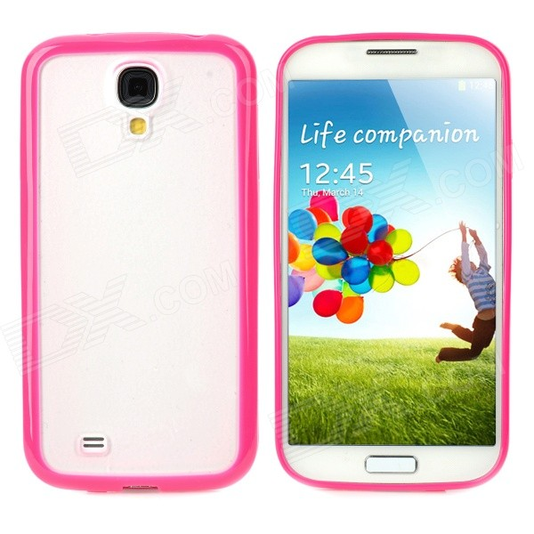 Protective TPU + PC Back Case for Samsung Galaxy S4 i9500 - Deep Pink + Translucent White s style protective tpu back case for htc 8s translucent deep pink