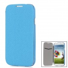 Protective Plastic + PU Leather Flip-open Case for Samsung i9500 - Deep Blue + Translucent Blue