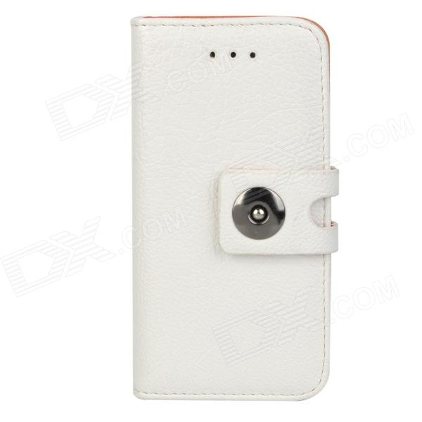 Protective PU Leather Case w/ Metal Button Closure for Iphone 5 - White