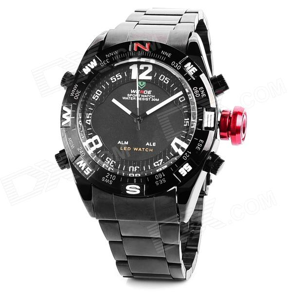 WEIDE 1310 Men's Water Resistant Stainless Steel Quartz Wrist Watch - Black (1 x 377) fashion stainless steel red yellow led water resistant wrist watch black 2 x cr2016