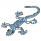 Sparkling Crystal-inlaid Cute Gecko Style Zinc Alloy DIY Car Sticker - Silver + Blue