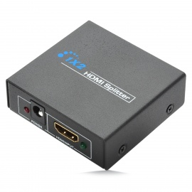1080P 1-In 2-Out HDMI V1.4 Splitter w/ 2-Round-Pin Plug Adapter -Black