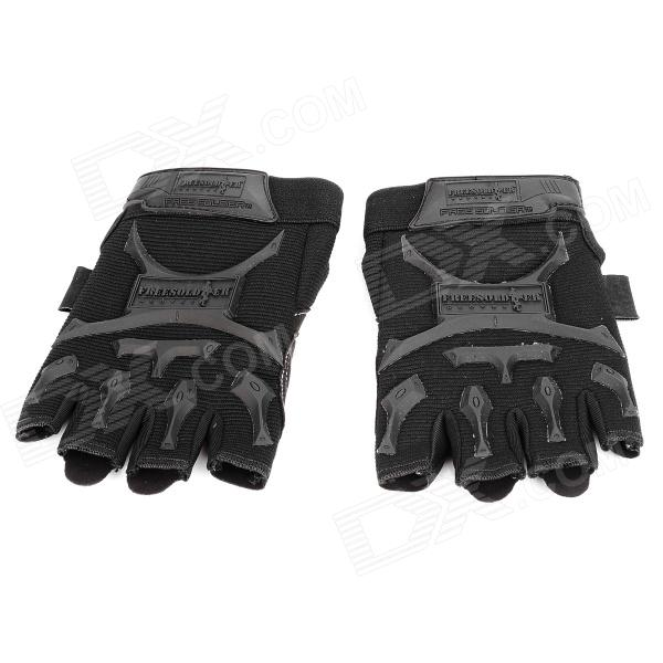 Free Soldier F-PACT Outdoor Tactical Cycling Half-Fingers Nylon Gloves - Black (Size M / Pair)