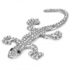 Sparkling Crystal-inlaid Cute Gecko Style Zinc Alloy DIY Car Sticker - Silver
