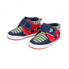Streak Cotton Velcro Baby Shoes - Deep Blue + Yellow + Red (6~9 Months / Pair)