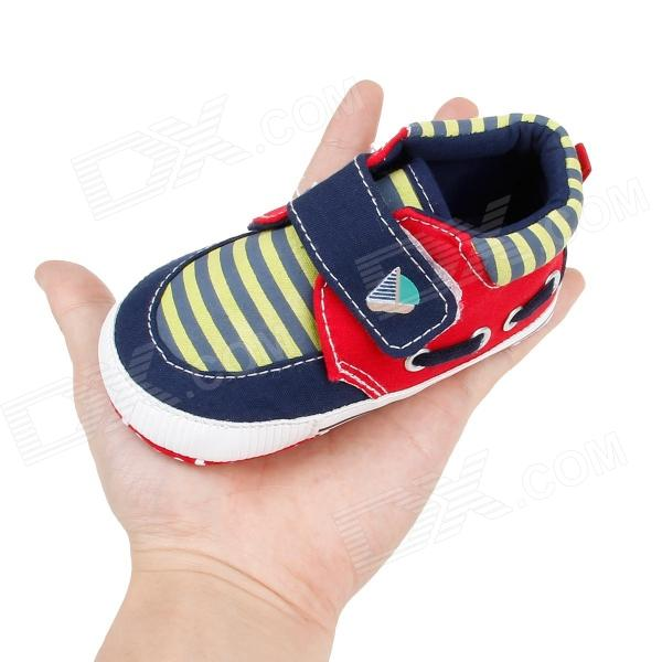 Streak Cotton Velcro Baby Shoes Deep Blue Yellow Red