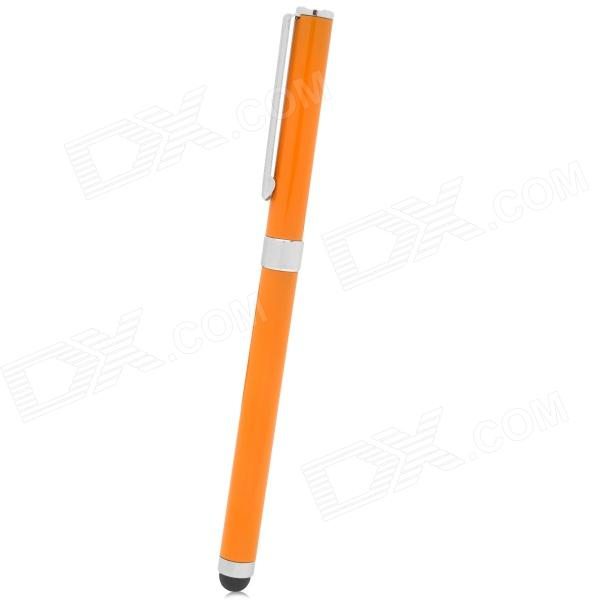 2-in-1 Stainless Steel Gel Pen Touch Screen Stylus for Iphone 5 / Ipad MINI - Orange + Silver