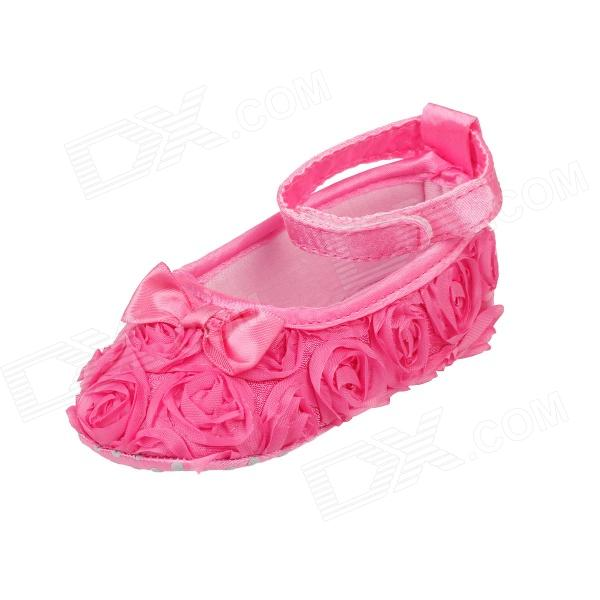 Flower Velcro Baby Shoes Deep Pink 9 12 Months 1 Pair
