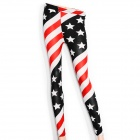 Stylish Stars Pattern Women's Cotton + Polyester Leggings - Royal Blue + Red + White