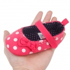 Cute Round Dot Pattern PU Cotton Baby Shoes - Red + White (12~18 Months / Pair)