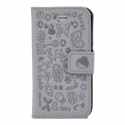 Cute Cartoon Style Protective PU Leather Case for iPhone 4 / 4S - Grey