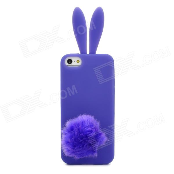 Cute Cartoon Rabbit Silicone Case w/ Rabbit Tail Suction Cup for Iphone 5 - Purple цена