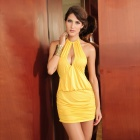 Lure Him Sexy Deep V Clubwear Dress - Yellow (Size L)