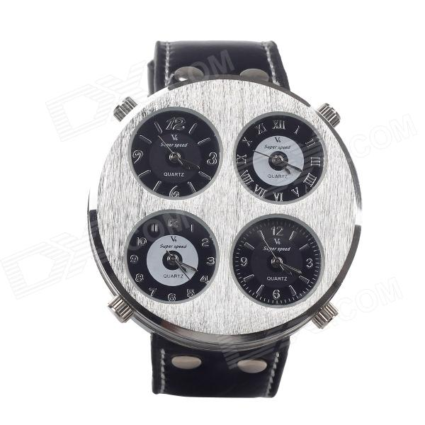V6 Super Speed Fashion Leather Band Four Movements Men Quartz Wrist Watch -Silver (1 x LR44) v6 super speed v007 fashion pu leather band quartz men s wrist watch black silver 1 x lr626