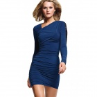 LC2627 Sexy Lace Long-Sleeves Ruching Dress - Deep Blue + Black (Size-L)