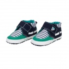 Streak Cotton Velcro Baby Shoes - Deep Green + White + Black (9~12 Months / Pair)