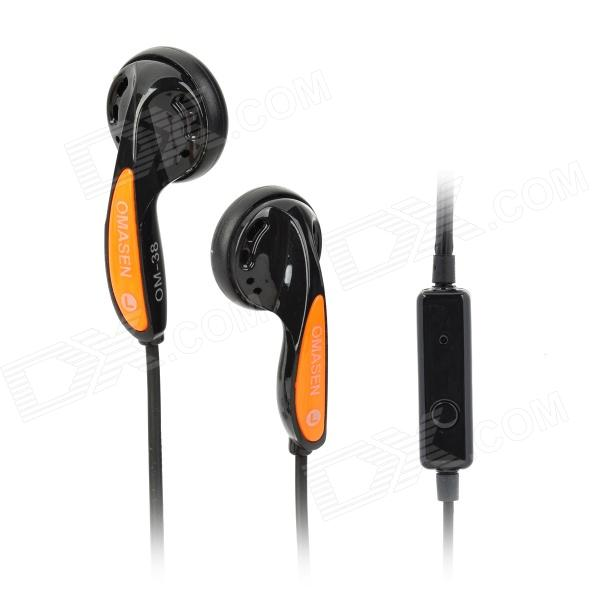 OMASEN OM68 Stereo Earphone w/ Microphone for Iphone 4 / 5 / Ipod / HTC / Samsung - Black + Orange omasen om78 stylish stereo earphone w microphone for iphone ipod htc samsung white 3 5mm